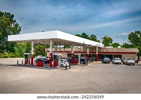 Gas Station And Convenience Store - stock photo