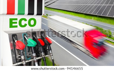 Gas station and truck. Ecology concept. - stock photo