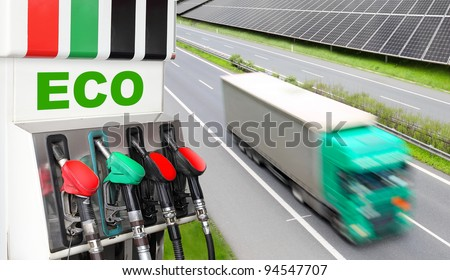 Gas station and truck. Ecology transportation concept. - stock photo