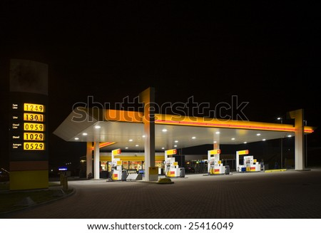 Gas station at night - stock photo