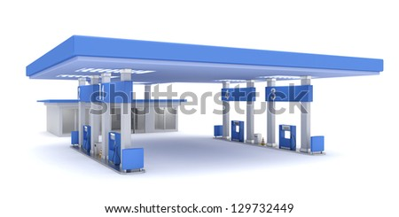 Gas station, 3d rendered image - stock photo