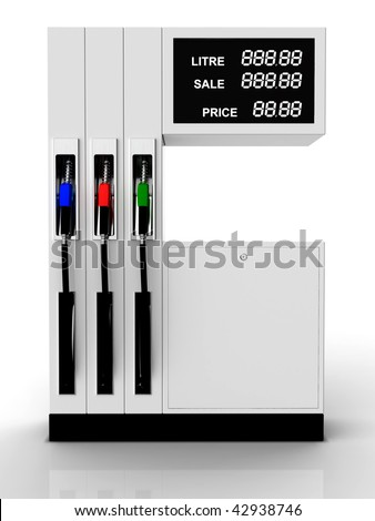 Gas station 3D rendering with easy changeable price - stock photo