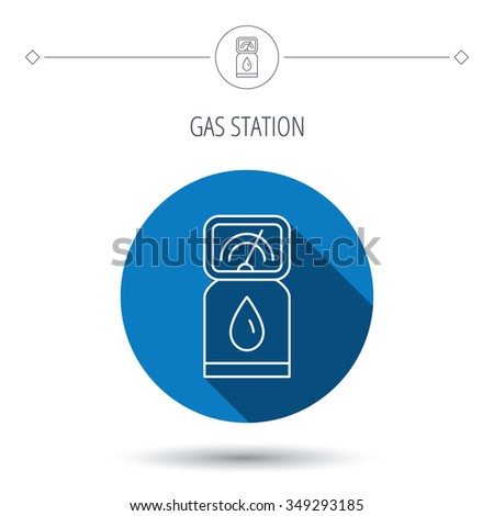 Gas station icon. Petrol fuel pump sign. Blue flat circle button. Linear icon with shadow.  - stock photo