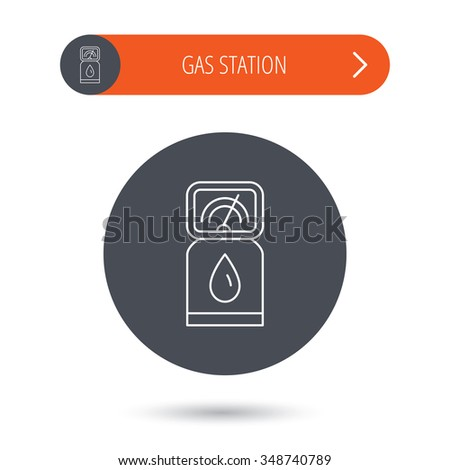 Gas station icon. Petrol fuel pump sign. Gray flat circle button. Orange button with arrow.  - stock photo