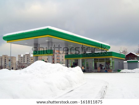 gas station in city. Winter - stock photo
