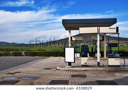 Gas station in Italian countryside - stock photo