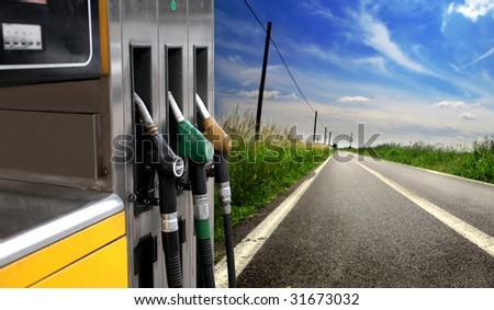 gas station in the countryside - stock photo