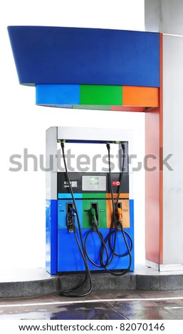 gas station isolated over white background. save path for design work - stock photo