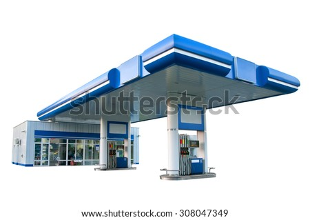 Gas station on the white background - stock photo