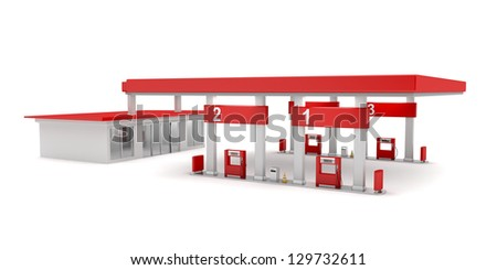 Gas station on white background - stock photo
