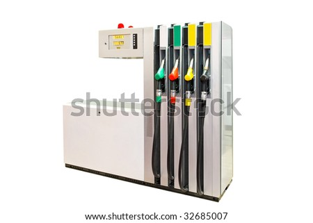 Gas station pump isolated included clipping path - stock photo