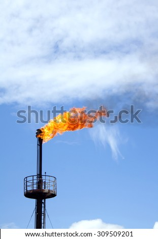 Gas station. Refinery plant. Oil industry. Flaming gas torch - stock photo