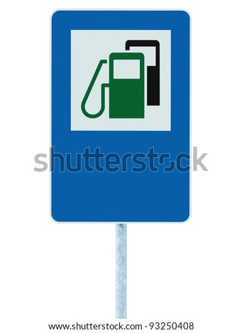 Gas Station Road Sign, Green Energy Concept Gasoline Fuel Filling Traffic Service Roadside Signage, Isolated Blue Petrol Fuel Tank Oil Pump Roadsign On Pole Plus Copyspace