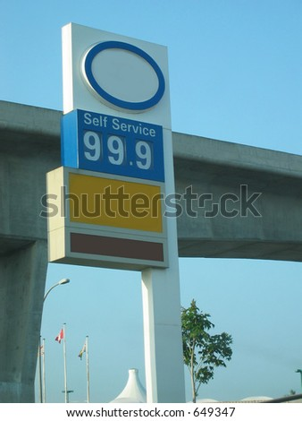 Gas station sign showing price