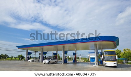 Gas station with clear sky