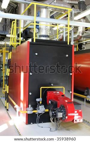 Gas steam boiler - stock photo