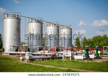 Gas storage and pipeline - stock photo