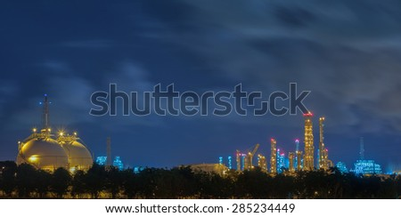 Gas storage tanks and a large oil - refinery plant