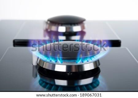 Gas stove burner - stock photo