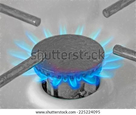 gas stove - illustration based on own photo image - stock photo