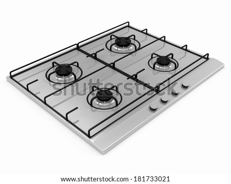 Gas stove isolated on white background - stock photo