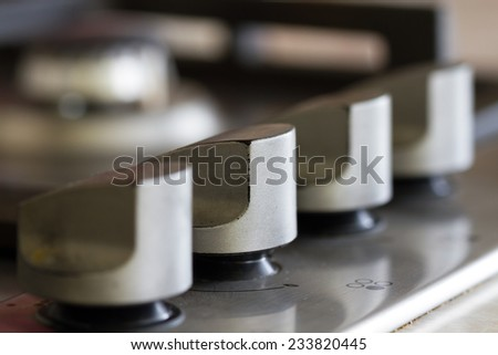 Gas stove on the kitchen - stock photo