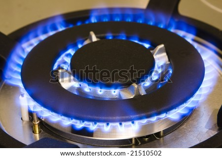 Gas stove working - stock photo