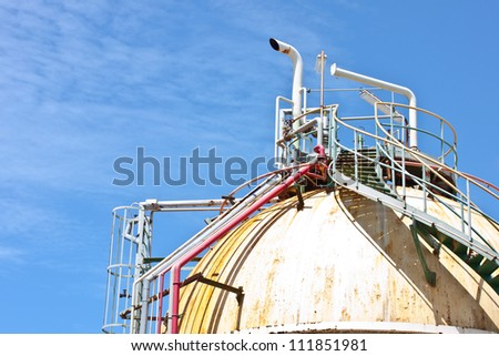 gas tank for petrochemical plant - stock photo