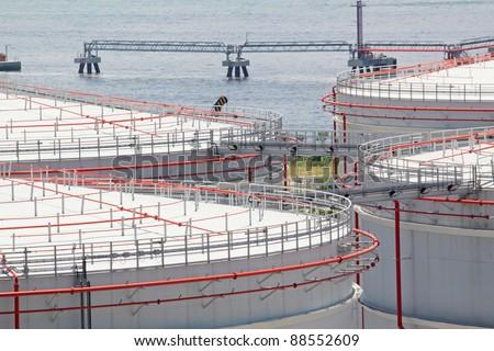gas tank in hong kong - stock photo