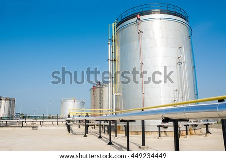 Gas tank in oil Processing Plant - stock photo