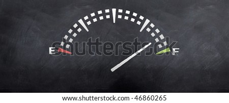Gas tank levels sketched on a blackboard