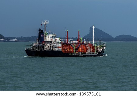 Gas tanker in the Gulf of Thailand. - stock photo