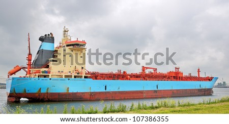 gas tanker  in the harbor of rotterdam - stock photo
