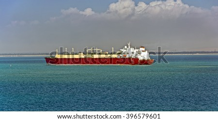 Gas tanker LNG transporting  liquefied natural gas sea - stock photo