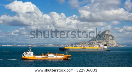 Gas tanker transporting liquid natural gas by sea - stock photo