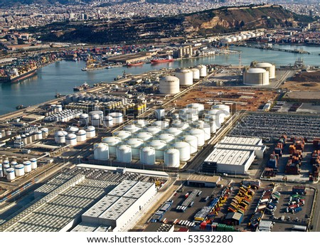 Gas tanks at the port of Barcelona, Spain, aerial view - stock photo