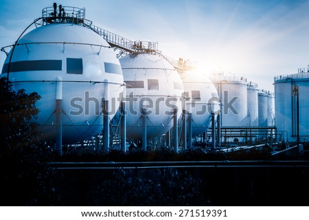gas tanks for petrochemical plant. - stock photo
