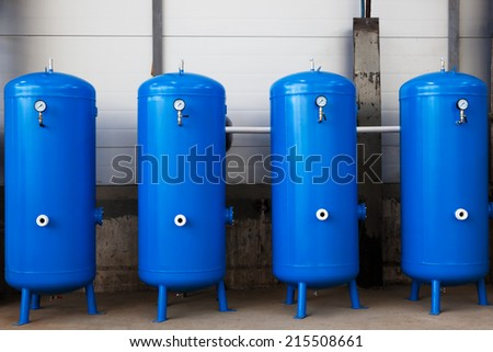 gas tanks in a modern plant - stock photo