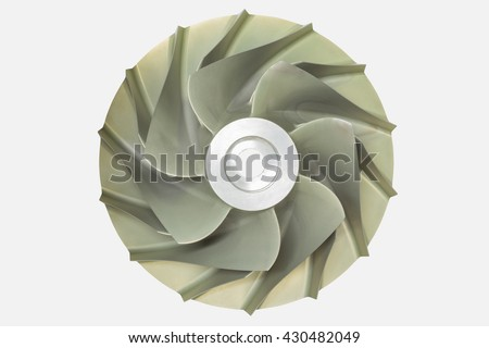 Gas turbine blade Isolate on white background function of gas compressor for compress natural gas to high pressure.   - stock photo