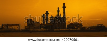 Gas turbine electrical power plant at dusk, panorama view - stock photo