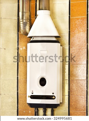 gas water heater old bathroom