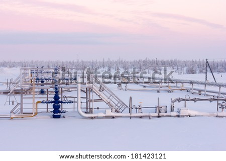 Gas well above the Arctic Circle - stock photo