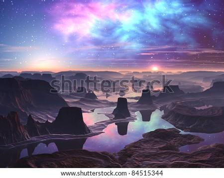 Gaseous Aurora over Mountainous Alien Landscape - stock photo