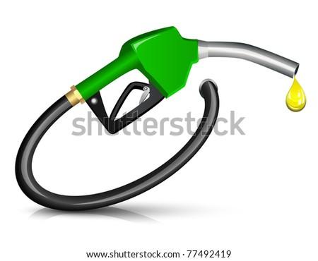 Gasoline Fuel Nozzle giving a drop - stock photo