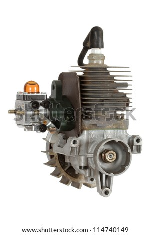 Gasoline-fueled internal combustion engine, isolated on white background - stock photo