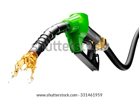 Gasoline gushing out from pump isolated on white background  - stock photo