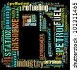 Gasoline info-text graphics and arrangement concept (word cloud) - stock vector
