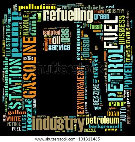Gasoline info-text graphics and arrangement concept (word cloud) - stock photo