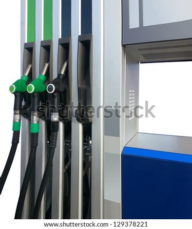 Gasoline Nozzles at Petrol Station Isolated on White Background - stock photo