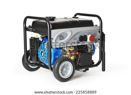 Gasoline powered, ten horsepower, emergency electric generator isolated on white background.  - stock photo